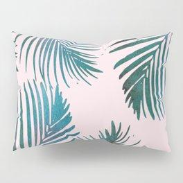 Green Palm Leaves on Light Pink Pillow Sham