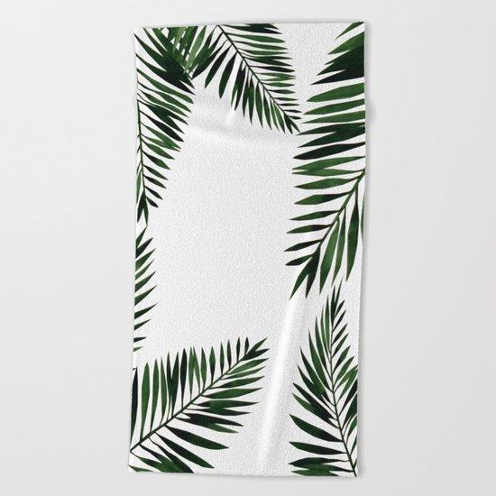 Watercolor tropical palm leaves Beach Towel