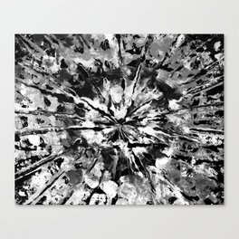 Black Gray & White Tie-Dye Colored Pattern Design // Hand Painted Mandala Multi Media Abstract Canvas Print