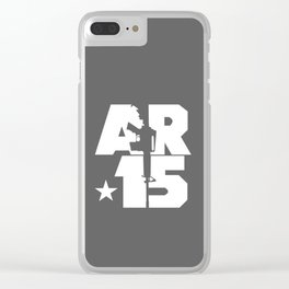 AR-15 (Gunmetal/White) Clear iPhone Case