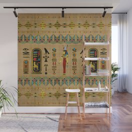 Egyptian Mut Ornament on papyrus Wall Mural
