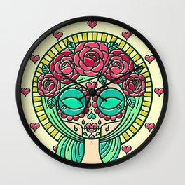 Sugar Skull Girl Wall Clock