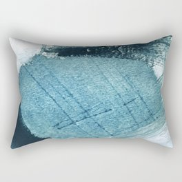 Pacific: a minimal abstract mixed media piece in blues and white Rectangular Pillow