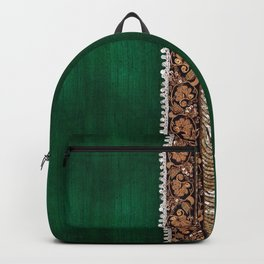 -A11- Tradtional Textile Moroccan Green Artwork. Backpack