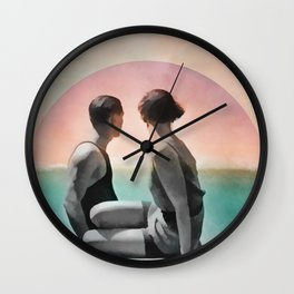 Collage Couple in Sunset Wall Clock