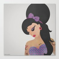 amy poehler Canvas Prints featuring AMY  by Angelus