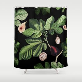 Figs Black Shower Curtain