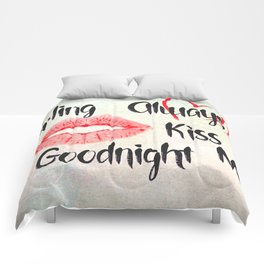Darling Always Kiss Me Goodnight Red Lips Heart Art A535 Comforters