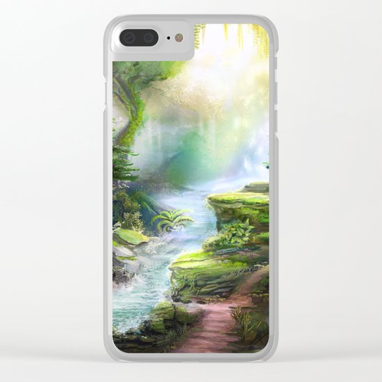 Magical Forest Stream Clear iPhone Case