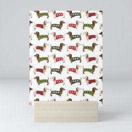 Cute Christmas Dachshunds Pattern Mini Art Print