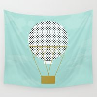 hot air balloon Wall Tapestries featuring GREEN HOT AIR BALLOON by Allyson Johnson