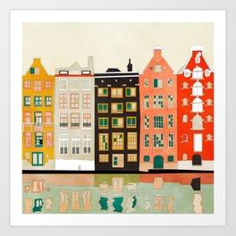 Travel europe city shape abstract art Art Print