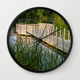 Fishing Pier in the Golden Light Wall Clock