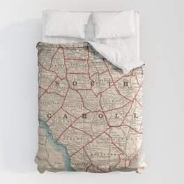 Vintage Map of South Carolina (1893) Comforters