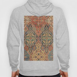 Geometric Leaves VIII // 18th Century Distressed Red Blue Green Colorful Ornate Accent Rug Pattern Hoody