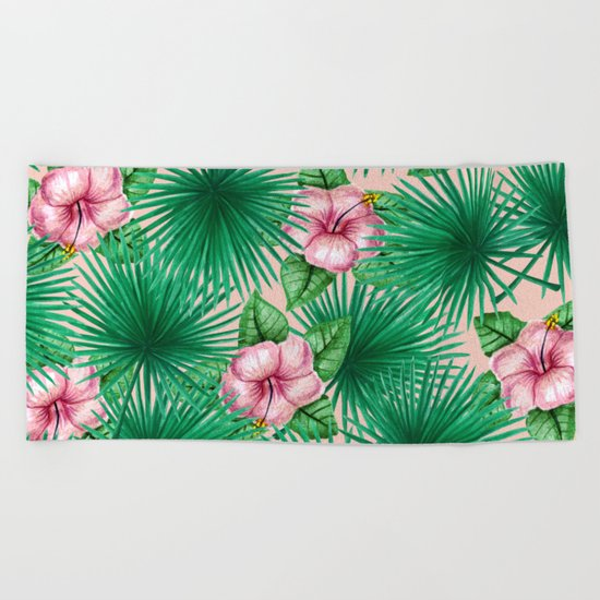 Jungle Love, Palm Leaves And Hibiscus Pink Beach Towel