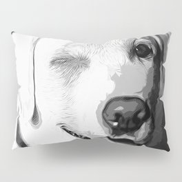 labrador retriever dog winking vector art black white Pillow Sham