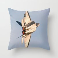 aviation Throw Pillows featuring Aviation F-22 Raptor Air Show USAF by Aviator