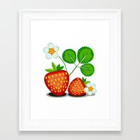 strawberry Framed Art Prints featuring Strawberry by LaDa