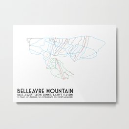 Belleayre Ski Center, NY - Minimalist Trail Art Metal Print