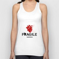 anatomical heart Tank Tops featuring Fragile Anatomical Heart(RED) by J ō v