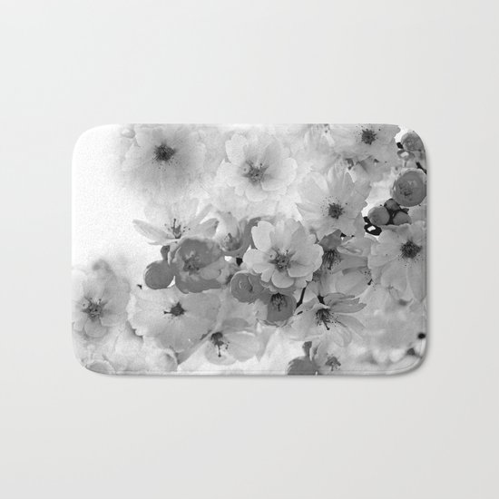 CHERRY BLOSSOMS IN BLACK AND WHITE Bath Mat