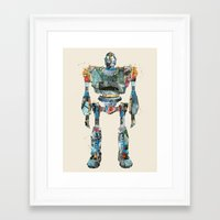 iron giant Framed Art Prints featuring modern iron giant by bri.buckley