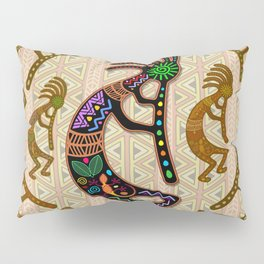 Kokopelli Rainbow Colors on Tribal Pattern  Pillow Sham