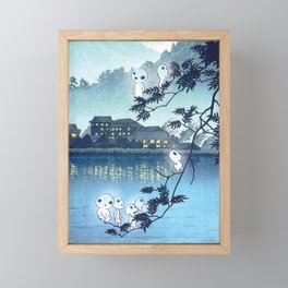 Kodama, Forest spirits vintage japanese woodblock mashup Framed Mini Art Print