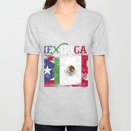 Mexirican product, Puerto Rico Flag Tee, Cinco de Mayo Unisex V-Neck