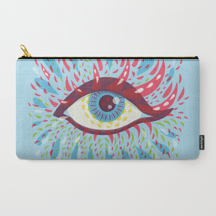 blue psychedelic eye pouch at Society6
