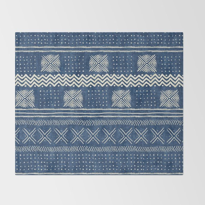 Mud Cloth Geometric Stripe Navy Throw Blanket