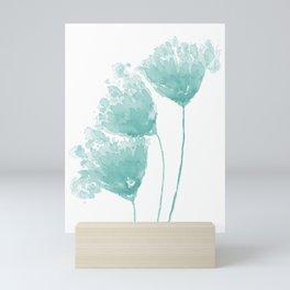 Three Flowers, Teal Blue Watercolor Mini Art Print