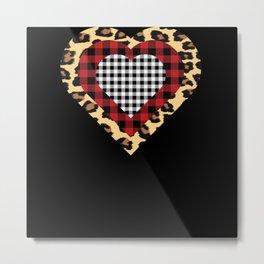 Three Hearts Buffalo Leopard Plaid Metal Print
