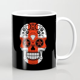 Sugar Skull with Roses and Flag of England Coffee Mug