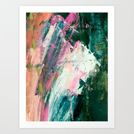 Meditate [2]: a vibrant, colorful abstract piece in bright green, teal, pink, orange, and white Art Print