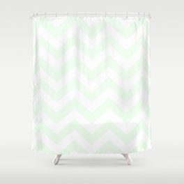 Honeydew - heavenly color - Zigzag Chevron Pattern Shower Curtain