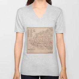 Vintage Map of Charleston South Carolina (1890) Unisex V-Neck