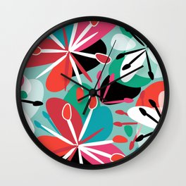 Contemporary composition of colorful abstract flowers on a light green background, cheerful and colo Wall Clock