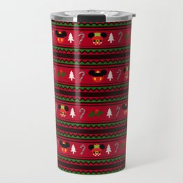 Christmas Mouse Ears Ugly Sweater Pattern Travel Mug