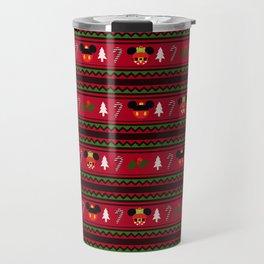 Christmas Mouse Ears Ugly Sweater Pattern Travel Mug