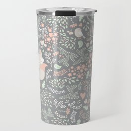 Sleeping Fox - grey pattern design Travel Mug