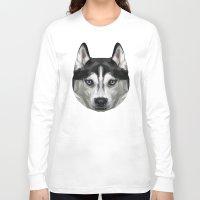 husky Long Sleeve T-shirts featuring Husky // Blue by peachandguava