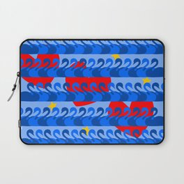 Graceful Blue Swans and Red Hearts Pattern Laptop Sleeve