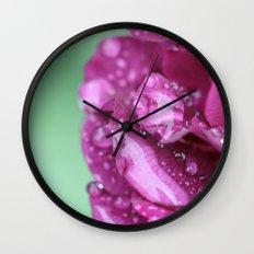 Flower with rain drops Wall Clock