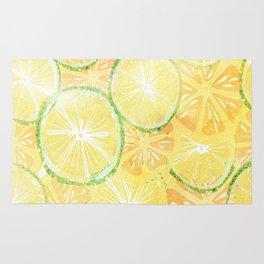 Juicy oranges. Watercolor textured pattern. Rug