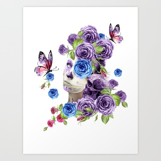 Combination with roses, skull and woman Art Print