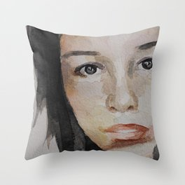 Watercolor painting, portrait beautiful girl Throw Pillow