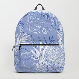 White and blue pineapples. Grunge Backpack