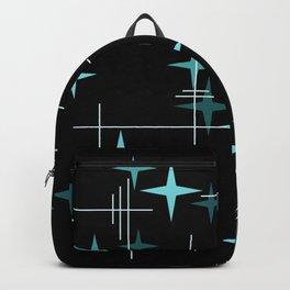 Mid Century Modern Stars Black Teal Backpack